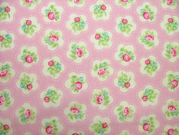 Dainty Flowers, Baby Pink, 100% Cotton Curtain / Soft Furnishing / Dressmaking Fabric
